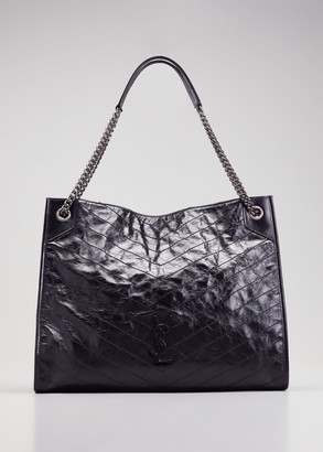 Saint Laurent Niki Large Crinkled Calf Shopper Tote Bag