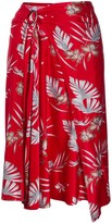 Paco Rabanne Foliage-Print Belted Skirt