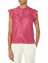Nanette Lepore Nanette Women's High Neck Embroidered Lace Cap Sleeve Top with Faggoting Trim