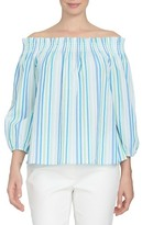 CeCe Off the Shoulder Stripe Gauze Top