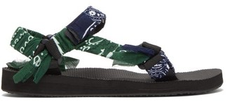 Arizona Love - Bandana Velcro-strap Sandals - Womens - Navy Multi