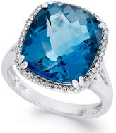 Macy's 14k White Gold Ring, Cushion-Cut London Blue Topaz (9-3/8 ct. t.w.) and Diamond (1/5 ct. t.w.) Ring