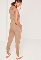Missguided Jersey Sleeveless Romper Nude