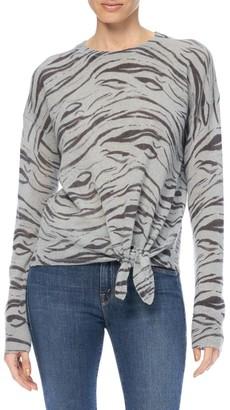 360 Cashmere Kourtney Zebra Print Tie-Front Cashmere Sweater