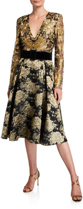 Badgley Mischka V-Neck Long-Sleeve Floral & Lace Belted Cocktail Dress