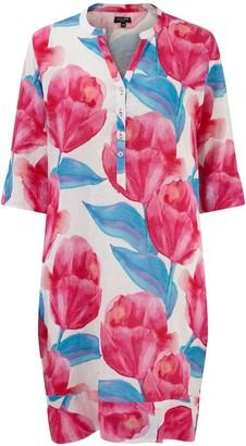 Nologo Chic Pink Tulips Linen Tunic Dress