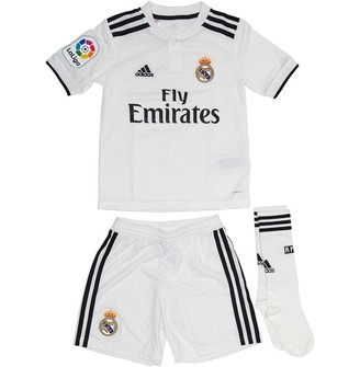 adidas Junior Boys RMCF Real Madrid Home Mini Kit Core White/Black