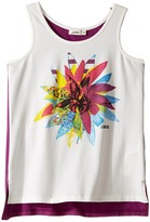 Junior Gaultier White Tank Top with Flower Over A Purple Tank Top (Big Kids)