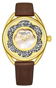 Stuhrling Original Women's Brown Leather Strap Watch 38mm