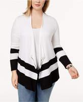 INC International Concepts I.N.C. Plus Size Striped-Hem Cardigan, Created for Macy's