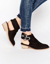Glamorous Black Buckle Cut Out Western Boots