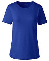 Lands' End Women's Shaped Cotton Crewneck T-shirt-Classic Navy Floral