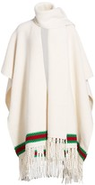 Gucci Wool Moss Stitch Wrap Cape With Green & Red Stripe