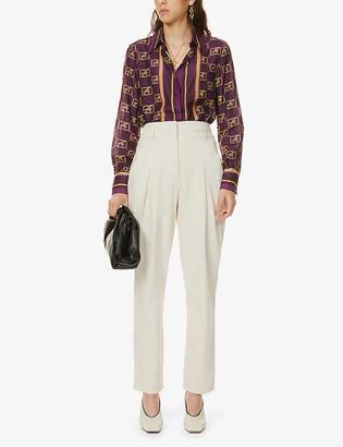 Alberta Ferretti Tapered high-rise stretch-denim trousers