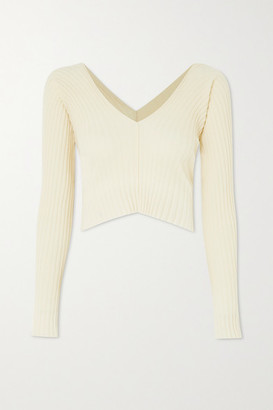IOANNES Tights Ribbed Wool-blend Top - Ivory