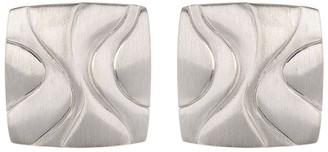 Breuning Sterling Silver Cushion Swirl Stud Earrings