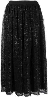 Ermanno Ermanno Mesh Sequin Panel Midi Skirt