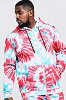 BoohooMAN Big & Tall MAN Embroidered Hoodie In Tie Dye