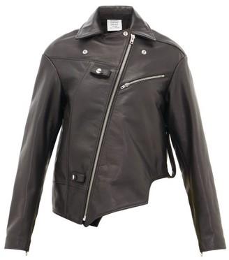 Vetements Asymmetric Leather Biker Jacket - Womens - Black