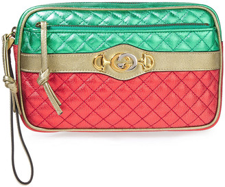 Gucci Metallic Quilted Leather Clutch