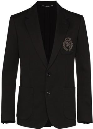 Dolce & Gabbana Embroidered Logo Patch Blazer