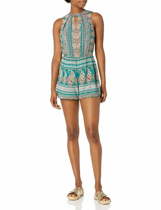 Angie Women's Neck Cuff Printed Romper with Keyhole Back