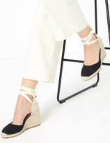 Marks and Spencer Suede Ankle Tie Wedge Espadrilles