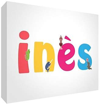 clear Little Helper Souvenir Decorative Polished Acrylic Diamond Style Colour Example with Girl's Name INES 10.5 x 15 x 2 cm Large