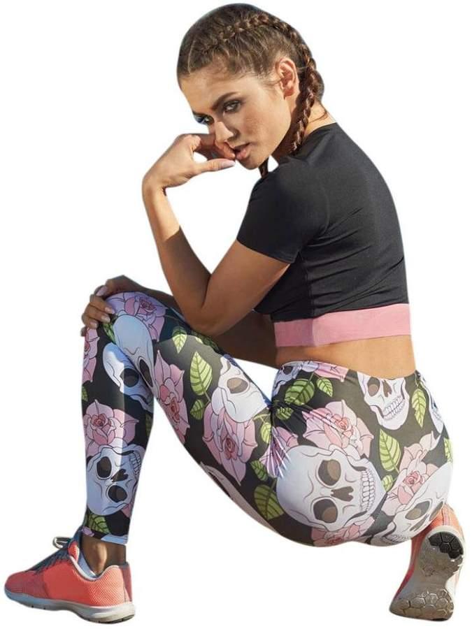 886fa2f925cc TAORE Leggings Skull Digital Printed Women's Full-Length Yoga Workout  Leggings Thin Capris Pants