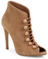 Gianvito Rossi Suede Button-Strap Peep Toe Booties
