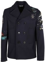 Valentino Embroidered Double Breasted Pea Coat