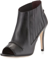 Etienne Aigner Kate Leather Peep-Toe Bootie, Black