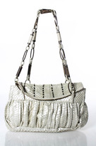 R & Y Augousti R&Y Augousti White Metallic Python Beaded Evening Bag