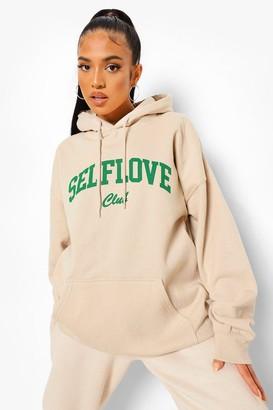 boohoo Petite Self Love Club Oversized Hoody