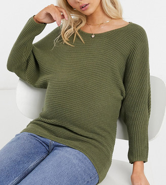 Mama Licious Mamalicious batwing sweater in green