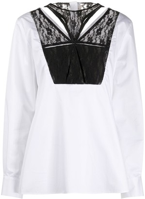 Christopher Kane Lace-Panel Tailored Blouse