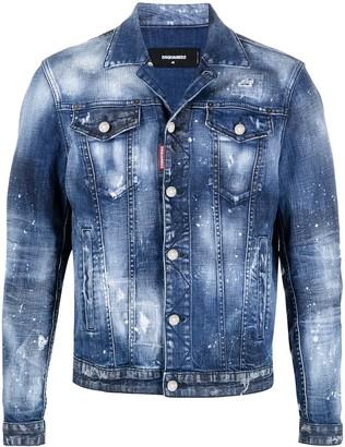 DSQUARED2 Paint-Splatter Denim Jacket