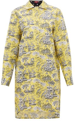STAUD Corgi Tropical-print Cotton-blend Shirtdress - Womens - Yellow