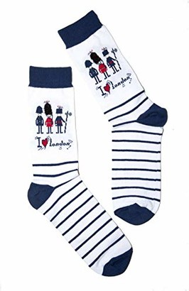 Zaza London Guard and Police I love London on White Stripes Ladies Everyday Ankle Socks