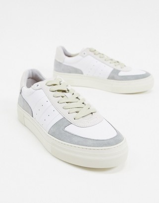 Selected leather sneakers with contrast panel in gray