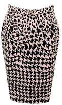 McQ by Alexander McQueen Leopard Houndstooth Pencil Skirt