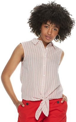 Women's POPSUGAR Tie-Front Button-Up Tank Top