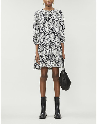 See by Chloe Graphic-print balloon-sleeve crepe mini dress