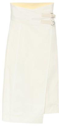 Jil Sander Asymmetric cotton midi wrap skirt