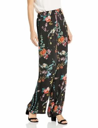 3J Workshop by Johnny Was Women's Printed Pant with Velvet Trim and Stretch Waist