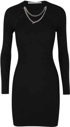Alexander Wang Black Embellished Ribbed-knit Mini Dress