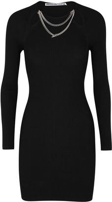 Alexander Wang Black embellished ribbed-knit mini dress