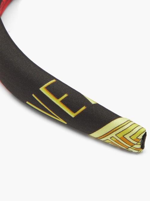 Thumbnail for your product : Versace Medusa Tile-print Padded-twill Headband - Black Multi