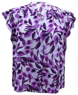 Alfani Plus Size Printed Flutter-Sleeve Top, Created for Macy's