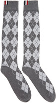 Thom Browne Grey Argyle Intarsia Over-the-calf Socks